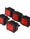 4-Pin Chaves oscilantes com luz indicadora de vermelho (5-Piece Pack)