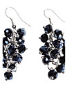 Midnight Blue Grape Shape Crystal Earrings