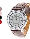 quartzo analógico mostrador branco pu banda relógio de pulso das mulheres (cores sortidas)