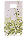 Green Vines Pattern Hard Case with Diamond for Samsung Galaxy S2 I9100