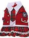 Plaid Pattern Student Style Dresses for Dogs (Red,XS-XL)