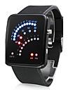 Men's Watch Digital 29 LED Red & Blue Light Black Silicone Strap Wrist Watch Cool Watch Unique Watch