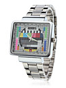 Unisex TV Pattern Square Case Silver Steel Quartz Analog Wrist Watch