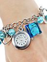 Mulheres Relógio de Moda Quartz Aço Inoxidável Banda Heart Shape Azul marca-