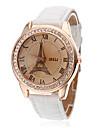 Жен. Модные часы Кварцевый PU Группа Аналоговый Эйфелева башня Белый