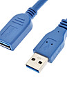 USB 3.0 A Type Male to USB 3.0 A Type Female Full-Packed Cable Blue(1.5M)