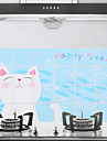 90x60cm gato dos desenhos animados Padrão de óleo à prova de água à prova de cozinha adesivo de parede