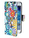 Círculos requintados e Flores Padrão Bolsa em couro PU com fecho magnético e slot para cartão de Samsung Galaxy S4 mini-I9190