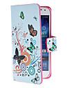 Pour Samsung Galaxy Coque Porte Carte / Avec Support / Clapet / Motif / Magnétique Coque Coque Intégrale Coque Papillon Cuir PU SamsungS4