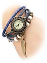 Cuir analogique montre-bracelet à quartz pour femmes (Orange Band)