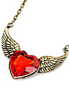Red asas pêssego coração longo colar de corrente camisola Gem N407