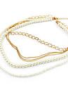 Ultra texturizado multicamadas pérola comércio de jóias colar de corrente camisola N210