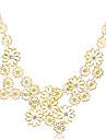 lureme®gold multi-couches plaquées holllow fleurs collier déclaration