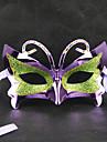 Vert et pourpre de mascarade de papillon Rétro masque de Halloween avec strass Blue Ribbon