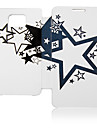 Black White Five-Pointed Star Leather Case for Samsung Galaxy S2 I9100