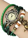 vindima coruja pingente de couro banda quartzo analógico pulseira relógio das mulheres (cores sortidas)
