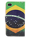 Vintage Brazil Flag Pattern PU Full Body Case with Card Slot and Stand for iPhone 4/4S
