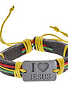 Unisex Multicolor I Love Jesus Fabric Leather Bracelet