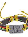 Мужская многоцветный я люблю Иисуса ткани кожаный браслет