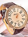 Rodada de couro relógio de quartzo analógico Vestido das mulheres