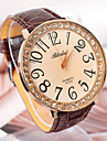 Women'S Round Leather Quartz Analog Dress Watch Cool Watches Unique Watches