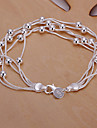 prata corrente de cobre de 20 centímetros doces mulheres e pulseira link (prata) (1 pc)