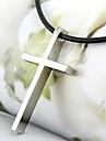 Mode (pendentif croix) collier en cuir noir Pendentif (argent) (1 PC)
