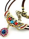 Антиквариата способа Циркон Многоцветный подвеска кожа Ожерелье (случайный цвет)