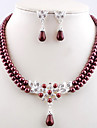 Women's Pearl Jewelry Set - Pearl, Imitation Pearl European, Fashion Include Coffee / Red / Green For Wedding / Daily / Earrings / Necklace