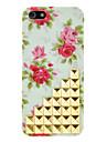 Flores de Rosas Padrão e Rivet Projetado Luz PC Verde duro para o iPhone 5C