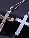 Joyería personalizada Regalos de acero inoxidable en forma de cruz de Jesús Collar colgante grabado con 60 cm Cadena