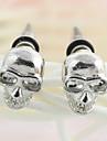 Gothic Skull Silver Alloy Stud Earrings (1 Pair)