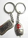 (2 PC)Beautiful And Fashionable Image The Keyboard And Mouse Shape Stainless Steel Couple Keychain