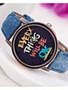 Mulheres Relógio de Moda Relógio de Pulso Quartzo PU Banda Relógios com Palavras Azul Verde Amarelo Amarelo Verde Azul