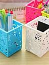 Caixa de armazenamento elegante gravura Cubóide Shaped Desk plástico (cor aleatória x 1 PCS)