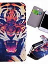 Special Grains Tiger  Pattern PU Full Body Case with Card Slot for iPhone 4/4S