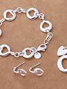 Argent de mode a plaqué le collier bracelet boucle d'oreille Set (1 Set)