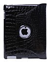 Protective Hard PU Crocodile Grain Leather Cases for iPad 2/3/4 (Black)