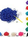 (300 pcs / paquet) couleur bande pur caoutchouc bandes de metier a tisser de style avec crochet 12pcs et