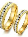 mode ligne unique forage titane perle or don acier couples anneau de sable de l'amour