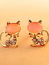 Classic Cat Shape Gem Stud Earrings(1 Pair)