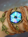 Galaxy Retro Handmade DIY Butterfly Magic Circle Time Gem Twine Brown Alloy Glass Leather Warp Bracelet(1 Pc)