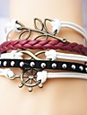Alloy Anchor Leaf and Infinite Multilayer Handmade Leather Bracelets