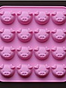 16 отверстие форма свинья шоколадные формы торт плесень, силикон 17.5 × 17.5 × 1.5 см (6.9 × 6.9 × 0.6 дюймов)