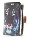 Tiger Head Style Leather Case with Card Slot and Stand for LG E400/Optimus L3