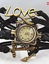 Женские Модные часы Часы-браслет Имитационная Четырехугольник Часы Имитация Алмазный Кварцевый PU Группа Heart Shape БогемныеЧерный