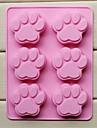 Форма лапы торт льда желе шоколадные формы 6 отверстий кошки, силиконовые 18,5 × 14,1 × 1,6 см (7,3 × 5,6 × 0,6 дюйма)