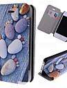 pedras pegadas padrão de couro caso de corpo inteiro com slot para cartão de iPhone 4 / 4S