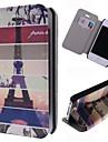 desenhos animados da torre Eiffel padrão de couro caso de corpo inteiro com slot para cartão de iPhone 4 / 4S