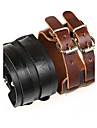 Double Buckle Retro Unisex Wide Leather Bracelet